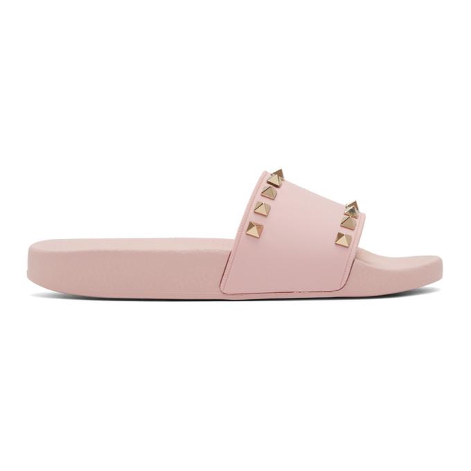 7627d6e15f60 Valentino Pink Valentino Garavani Rockstud Pool Slides
