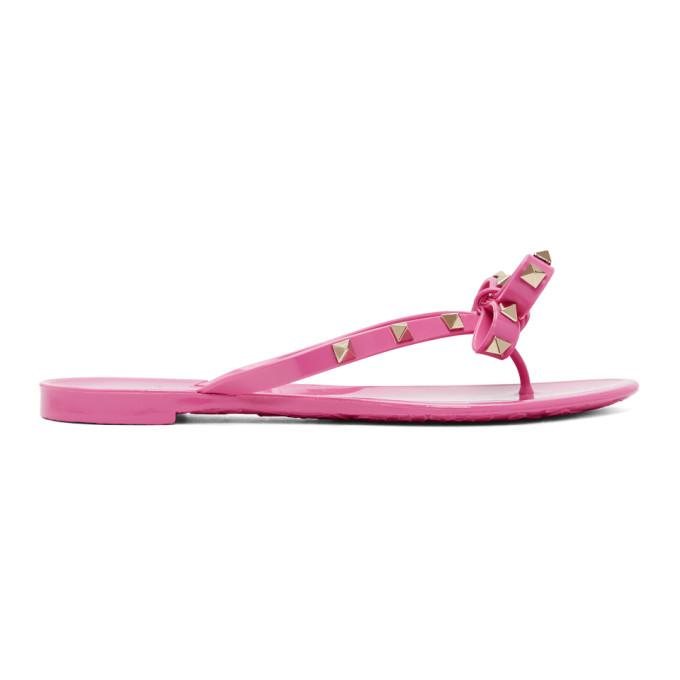9122ccef8fa Valentino Pink Valentino Garavani Rockstud Jelly Bow Sandals