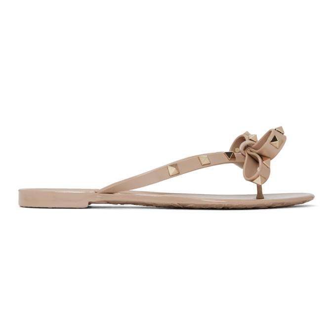 Pink Valentino Garavani Rockstud Bow Sandals