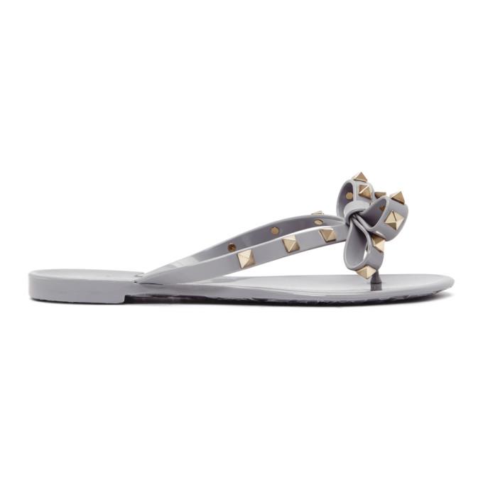 Valentino Grey Valentino Garavani Rockstud Jelly Bow Sandals