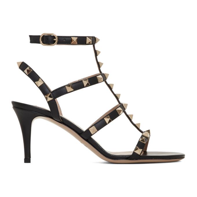 Valentino Black Valentino Garavani Rockstud Cage Heeled Sandals