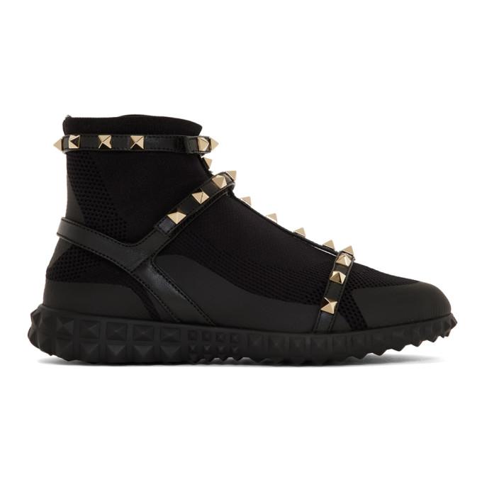 Valentino Black Valentino Garavani Rockstud High-Top Sneakers