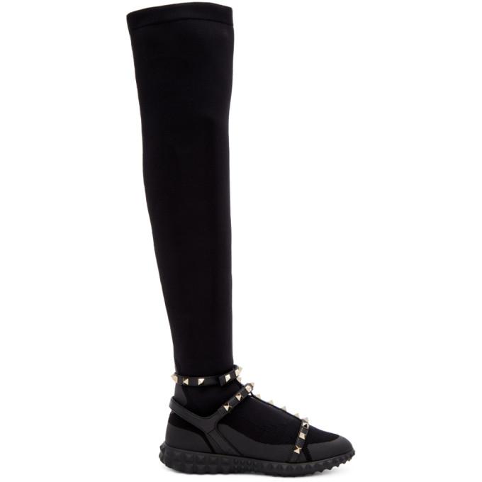 Valentino Black Valentino Garavani Rockstud Over-The-Knee Sneakers
