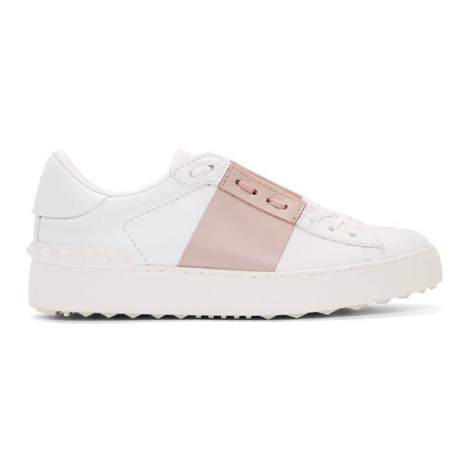 Valentino White & Pink Valentino Garavani Rockstud Open Sneakers