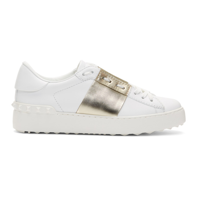 Valentino White & Gold Valentino Garavani Open Sneakers