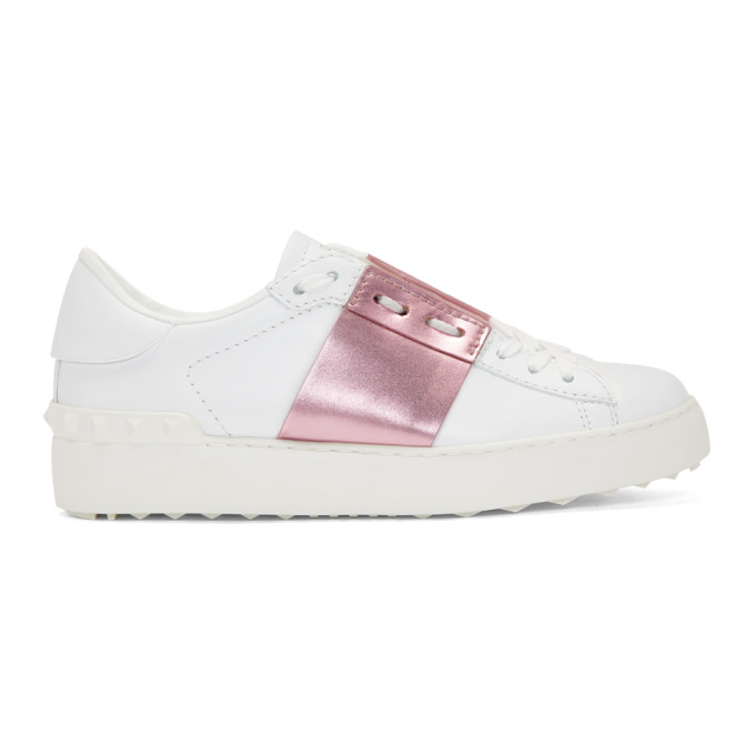 Valentino White & Pink Valentino Garavani Sneakers