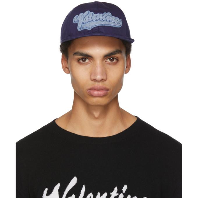 Image of Valentino Navy Valentino Garavani Rookie Varsity Logo Pool Cap