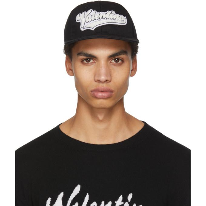 Image of Valentino Black Valentino Garavani Rookie Varsity Logo Pool Cap