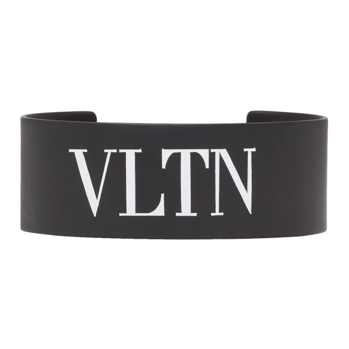 Image of Valentino Black Valentino Garavani Metal 'VLTN' Cuff Bracelet