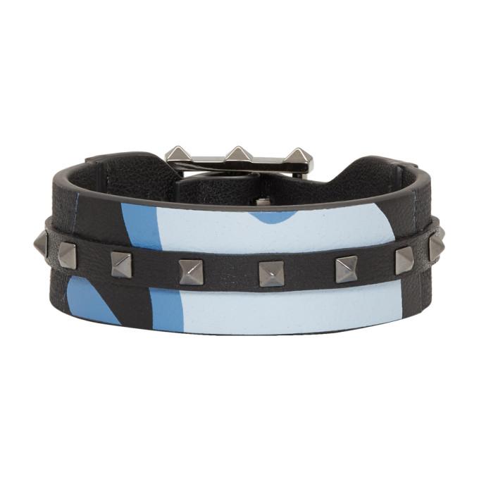 Image of Valentino Blue Valentino Garavani Camo Rockstud Bracelet