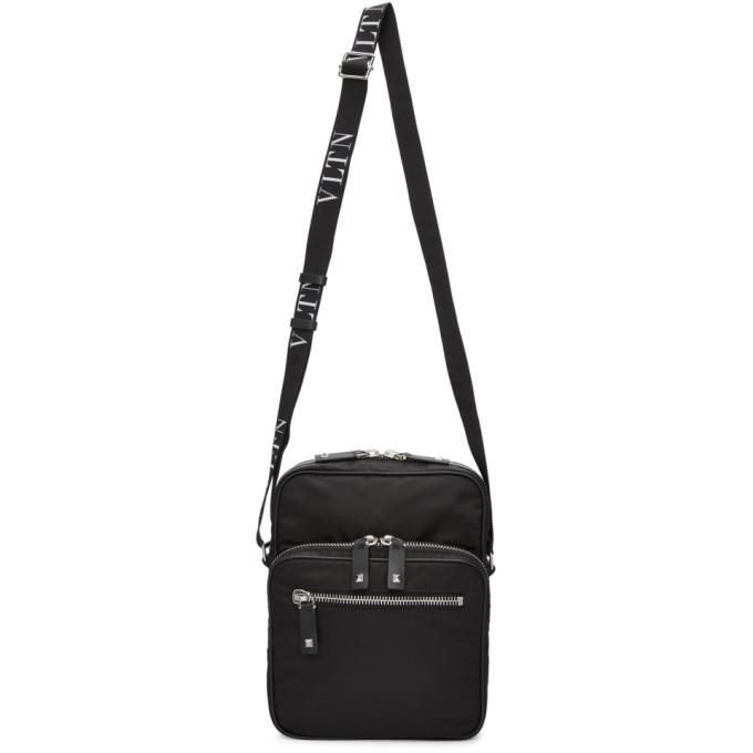 Valentino Black Valentino Garavani 'VLTN' Rockstud Messenger Bag