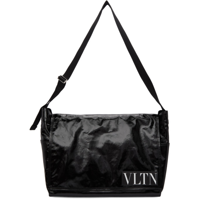 Valentino Black Large 'VLTN' Messenger Bag