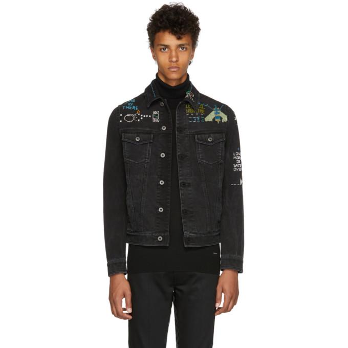 Image of Valentino Black Denim Video Game Jacket