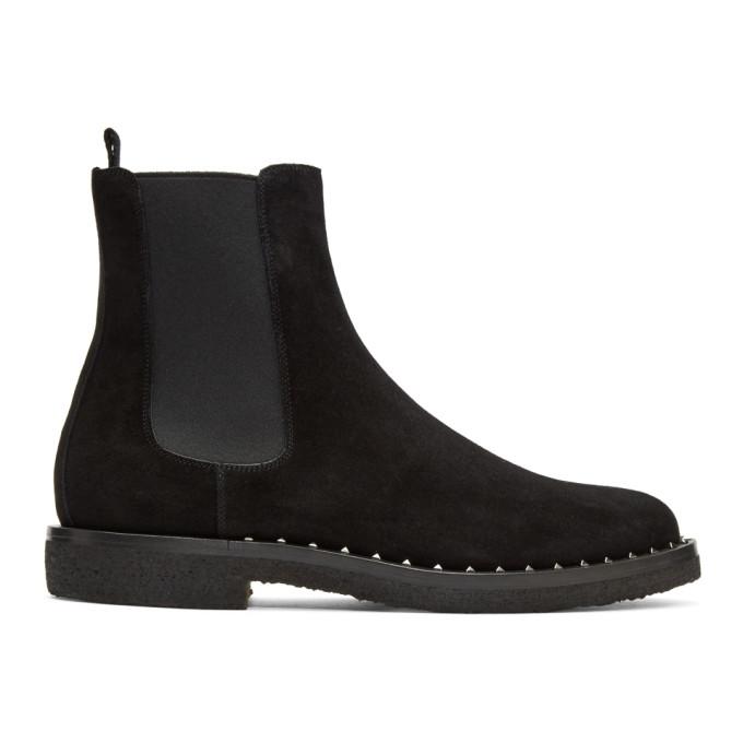Valentino Black Valentino Garavani Suede Soul Rockstud Chelsea Boots