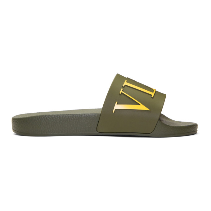 Image of Valentino Green Valentino Garavani PVC 'VLTN' Sandals