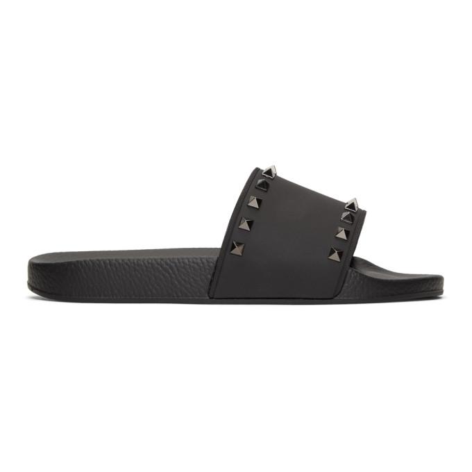 Valentino Black Valentino Garavani Rockstud Slides