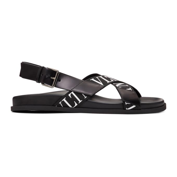 Valentino Black Valentino Garavani Strap Logo Sandals