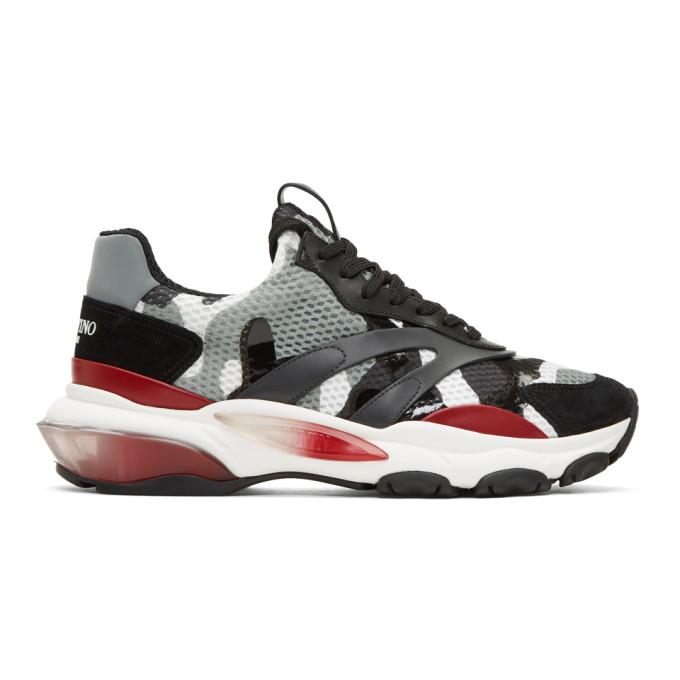Valentino Grey Valentino Garavani Camo Bounce Runner Sneakers
