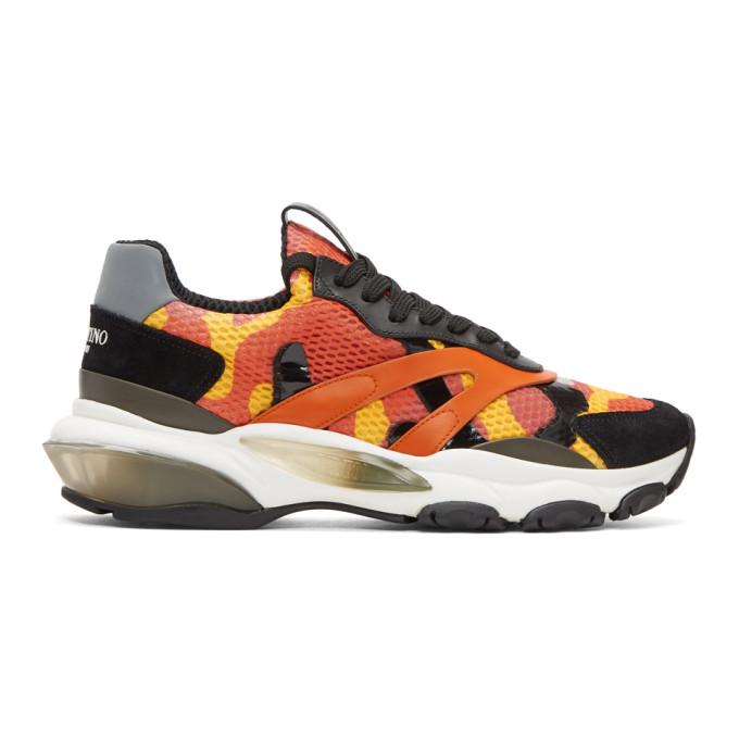 Valentino Orange Valentino Garavani Camo Bounce Runner Sneakers