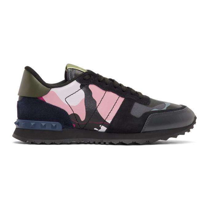Valentino Blue & Pink Valentino Garavani Camo Rockrunner Sneakers