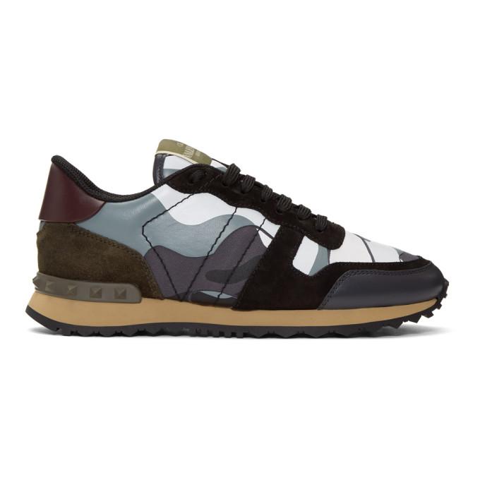 Valentino Grey Valentino Garavani Camo Rockrunner Sneakers