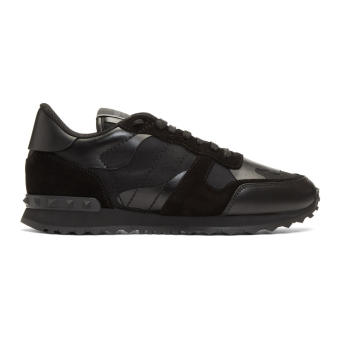 Valentino Black Valentino Garavani Camo Rockrunner Sneakers