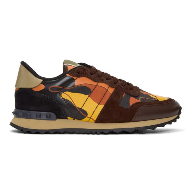Valentino Orange Valentino Garavani Camo Rockrunner Sneakers