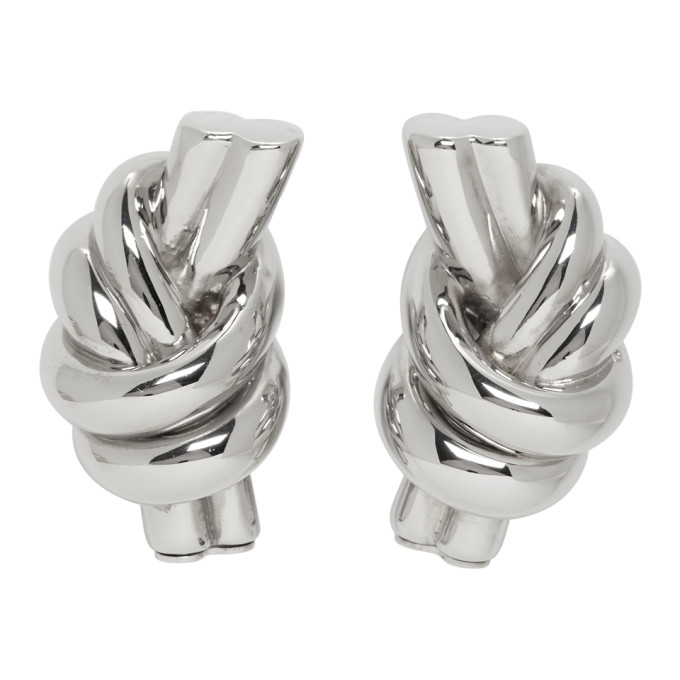 JW Anderson Silver Metallic Knot Earrings