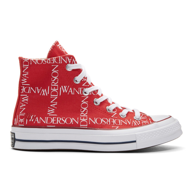 JW Anderson Red Converse Edition Grid Logo Sneakers
