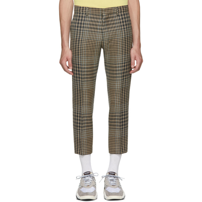 Image of AMI Alexandre Mattiussi Black & Beige Checkered Cropped Trousers