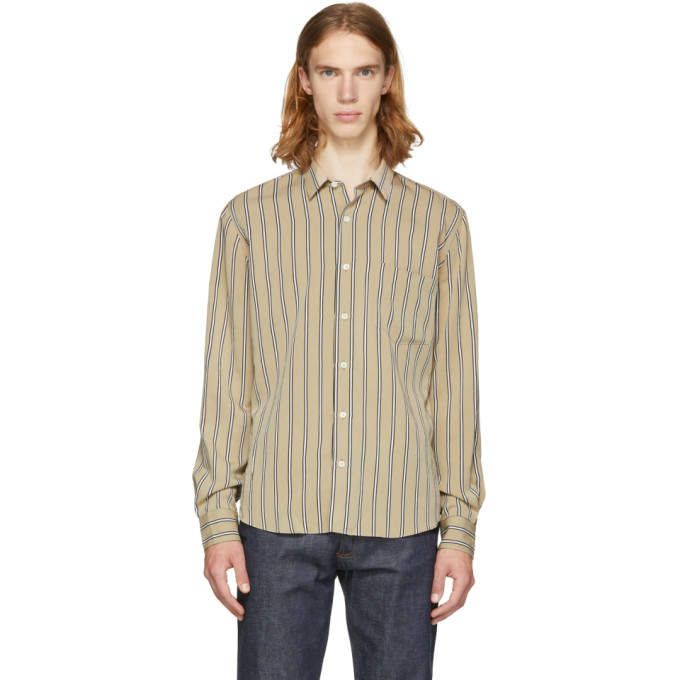 Image of AMI Alexandre Mattiussi Beige & White Stripe Shirt