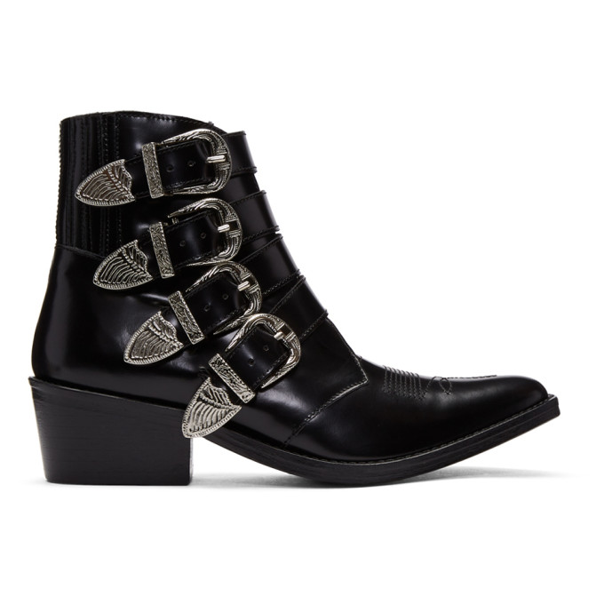 Toga Pulla Black Four Buckle Western Boots