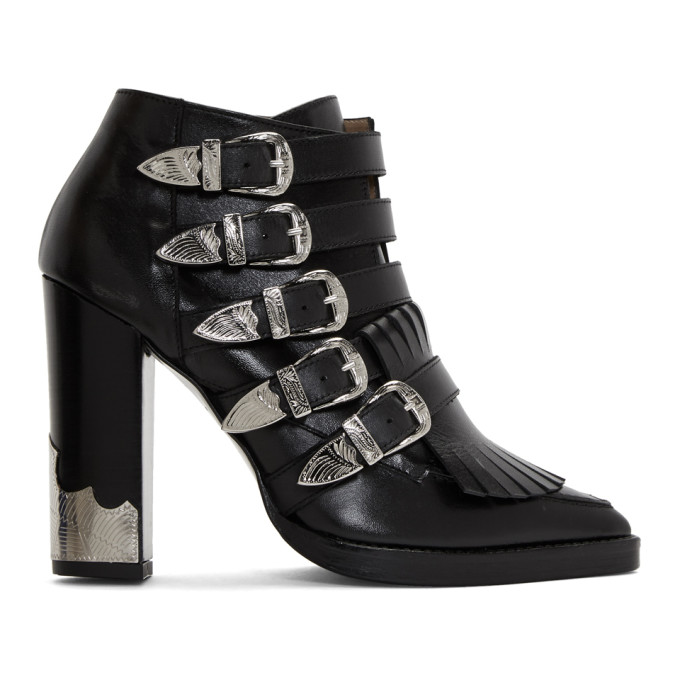 Toga Pulla Black Five-Buckle Heeled Western Boots