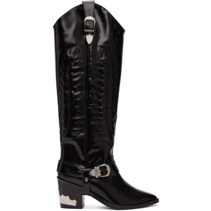 Toga Pulla Black Tall Cowboy Boots