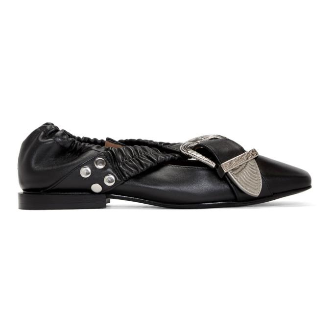 Toga Pulla Black Buckle Ballerina Flats