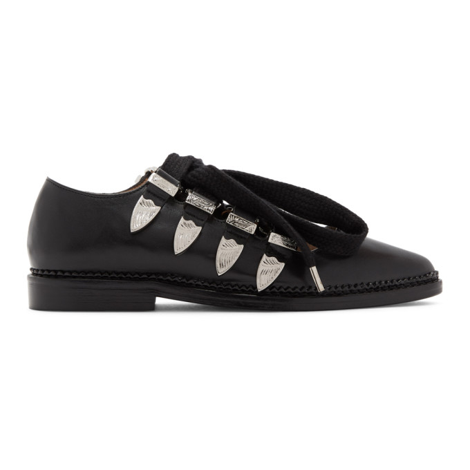 Toga Pulla Black Lace-Up Ballerina Oxfords