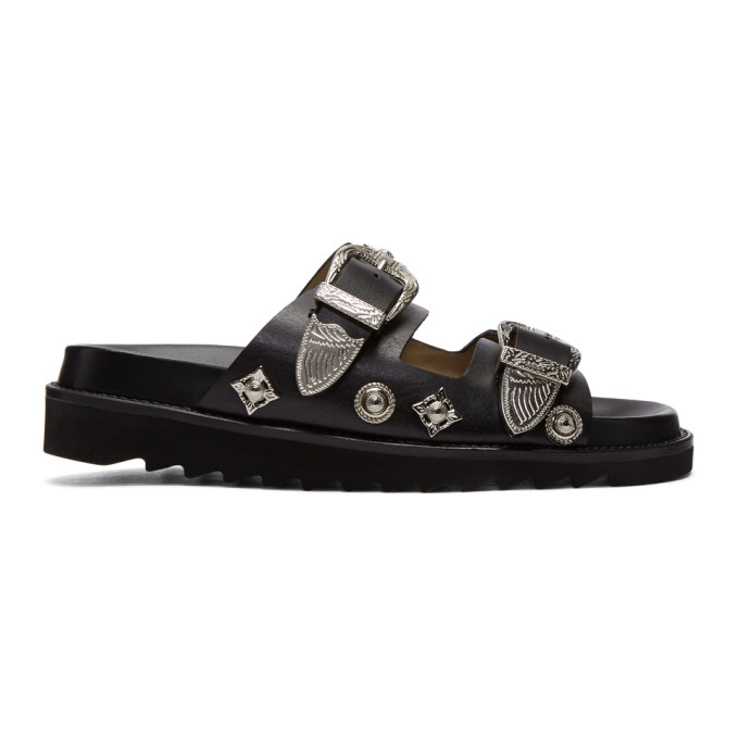 Toga Pulla Black Charms & Buckle Slides