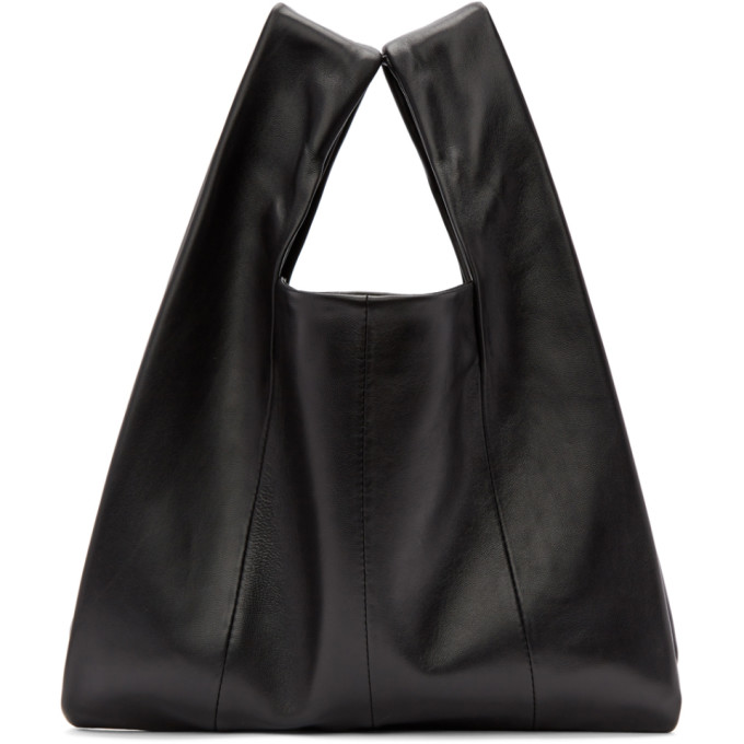 Image of Kara Black Lambskin Mini Shopper Tote