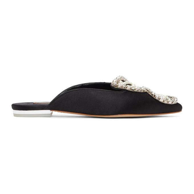 Sophia Webster Black Satin Bibi Butterfly Pearl Slippers