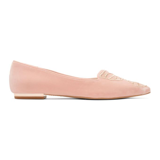 Sophia Webster Pink Velvet Bibi Ballerina Flats