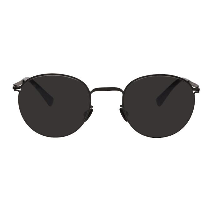 Image of Mykita Black Jonte Lite Round Sunglasses