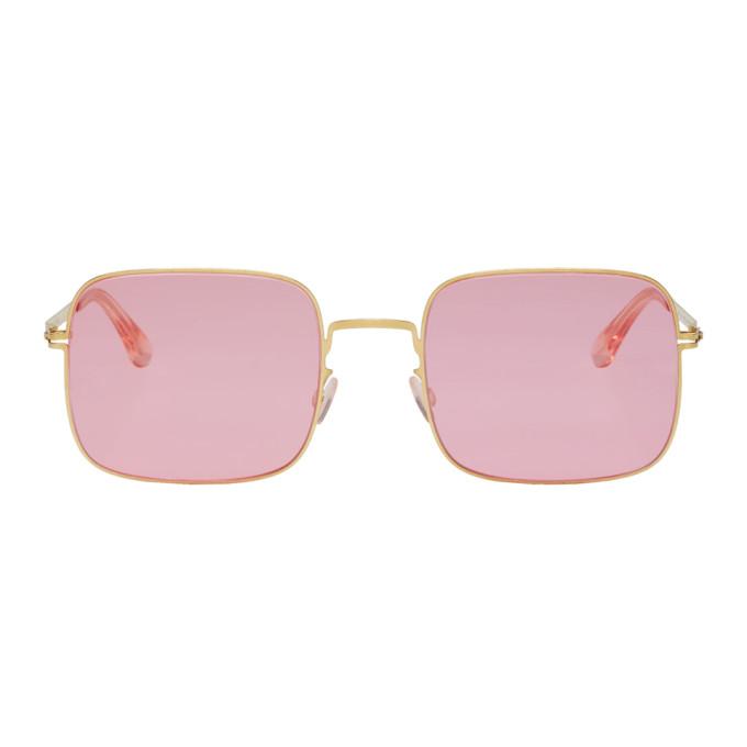 Image of Mykita Gold & Pink Studio 7.1 Sunglasses