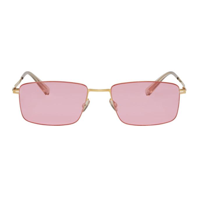 Image of Mykita Gold & Pink Kaito Sunglasses