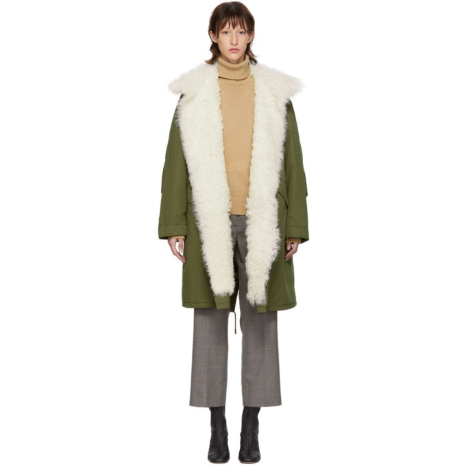 Image of Yves Salomon - Army Green Down Fur Collar Parka