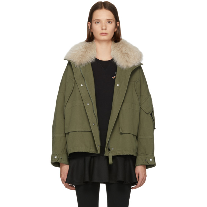 Image of Yves Salomon - Army Green and Pink Fur Classic New Bomber Jacket