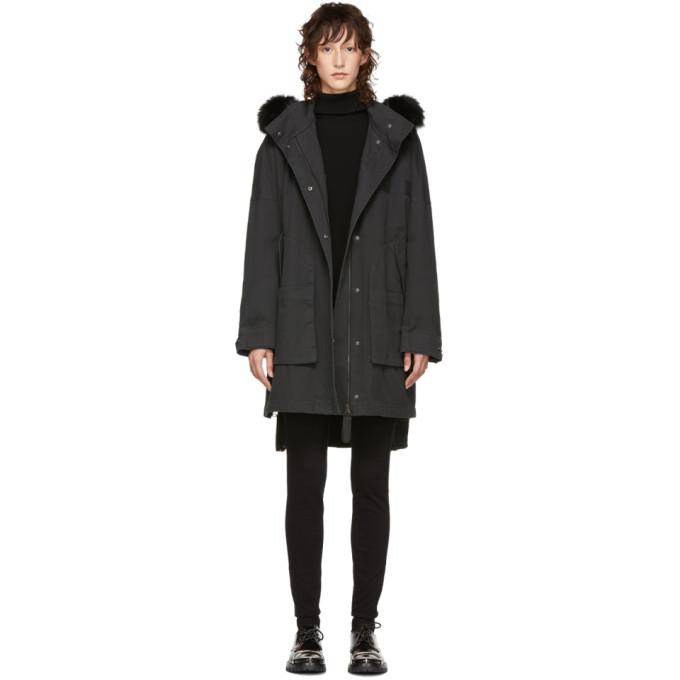 Image of Yves Salomon - Army Black Fur Long Coat