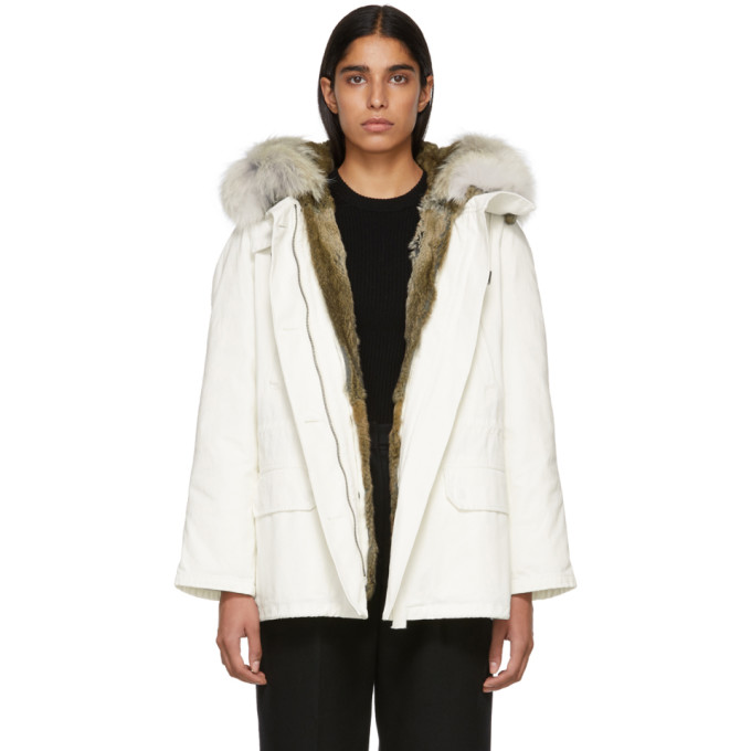 Image of Yves Salomon - Army White Classic Short Fur-Lined Parka