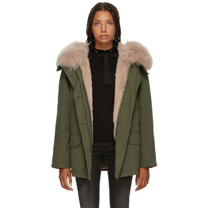 Image of Yves Salomon - Army Green & Pink Classic Short Fur-Lined Parka