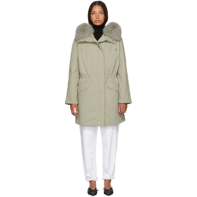 Image of Yves Salomon - Army Grey Classic Fur-Lined Parka