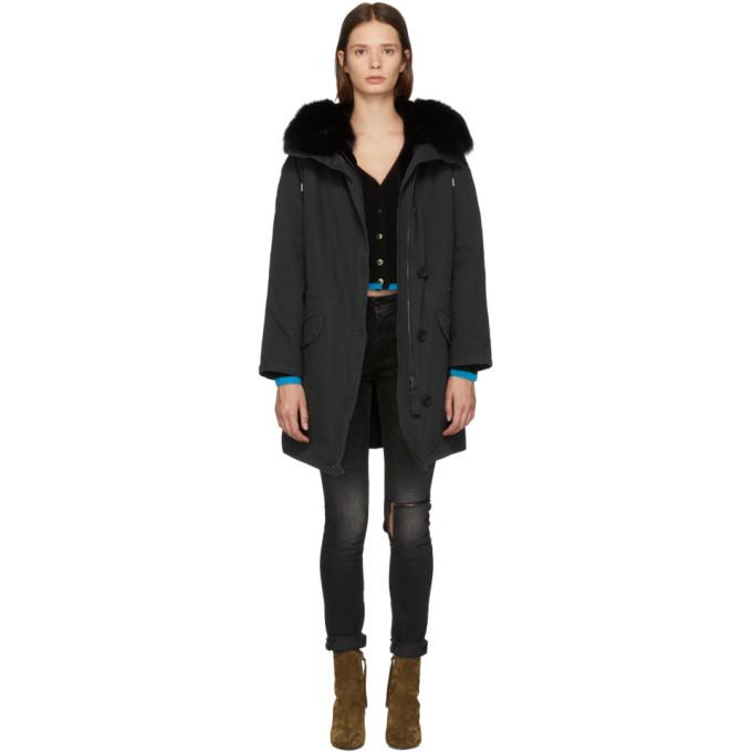 Image of Yves Salomon - Army Black Multi Fur Classic Long Parka